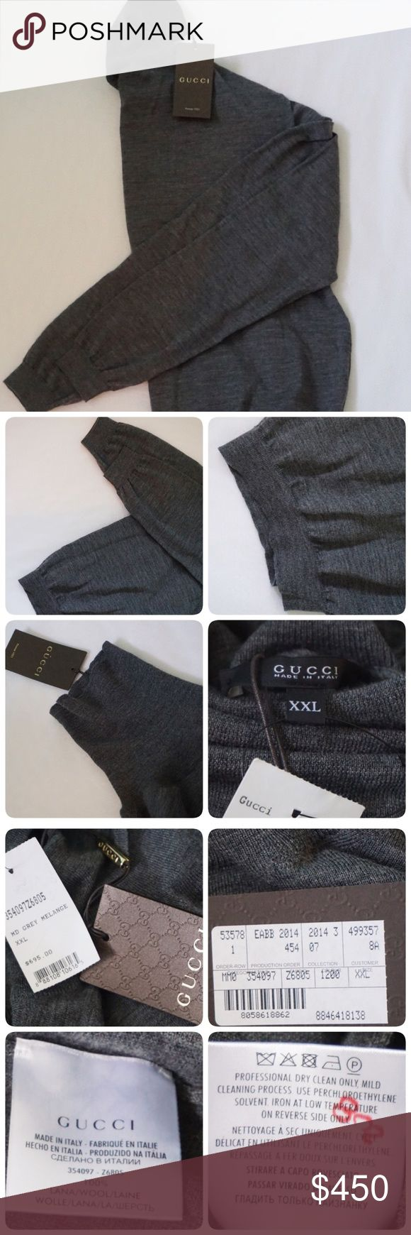 BRAND NEW GUCCI MEN TURTLENECK LONGSLEEVE SIZE XXL -BRAND NEW WITH TAG -SIZE: XXL (PLEASE KNOW YOUR SIZE!!!!!)⚠️⚠️ -COLOR: GREY -DESCRIPTION: 100% WOOL             ⚠️⚠️⚠️POSSIBLY WRINKLE FROM FOLDING⚠️⚠️⚠️⚠️⚠️    ⭐RATED SELLER  👍FAST SHIPPER NEXT DAY SHIPPING  ❌NO TRADE ❌NO PAYPAL ✅BUNDLE OFFER Gucci Sweaters Turtleneck