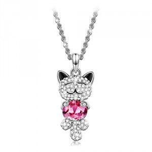 P&M #Cristal LUCKY CAT Chat Ruby #Collier #femme #fille Petit #chat souriant rose #Bijoux fantaisie plaque #or blanc anniversaire #Cadeau