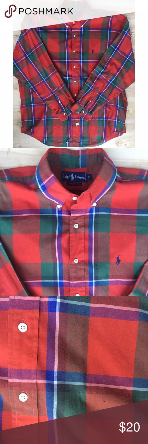 Polo Ralph Lauren red flannel shirt vintage XL Very cool vintage shirt a few pin holes loose threads but no big deal Polo by Ralph Lauren Shirts Dress Shirts