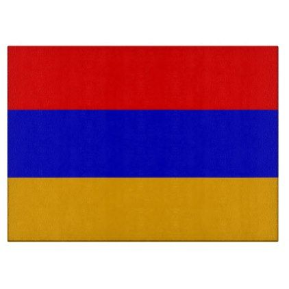 Glass cutting board with Flag of Armenia - kitchen gifts diy ideas decor special unique individual customized