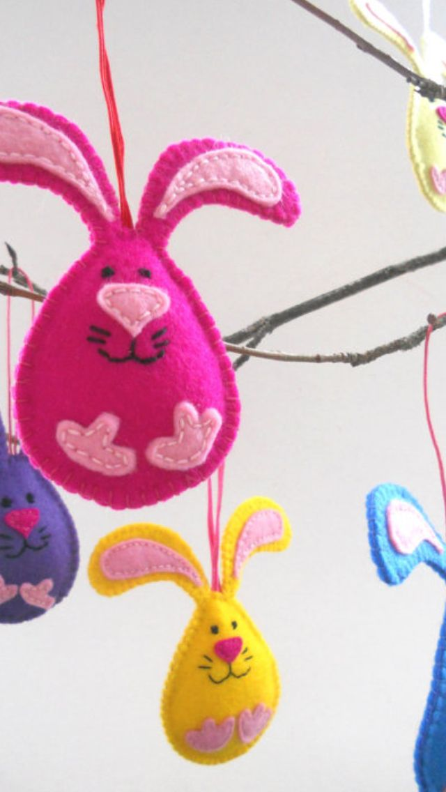 Felt Bunny Ornaments #Easter