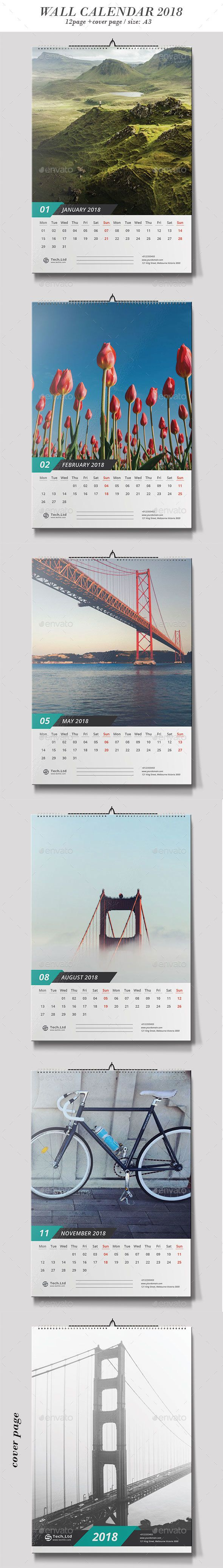 Calendar Template Vector EPS, AI Illustrator - 12 Pages + Cover Page