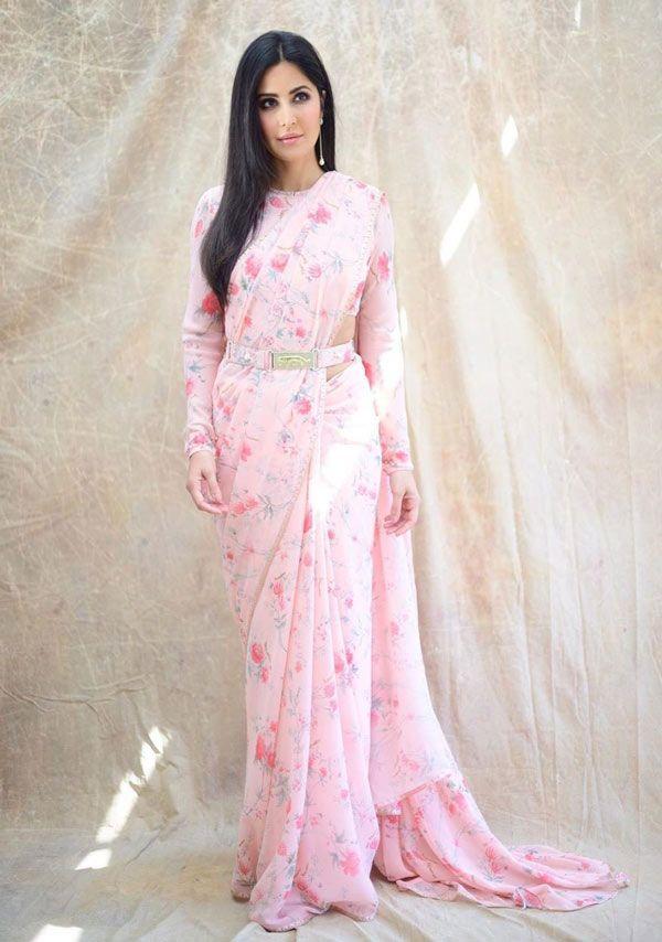 Katrina Kaif picks a Sabyasachi belt sari for Bharat Promotions. | Saree look, Indian sari dress, Saree designs party wear