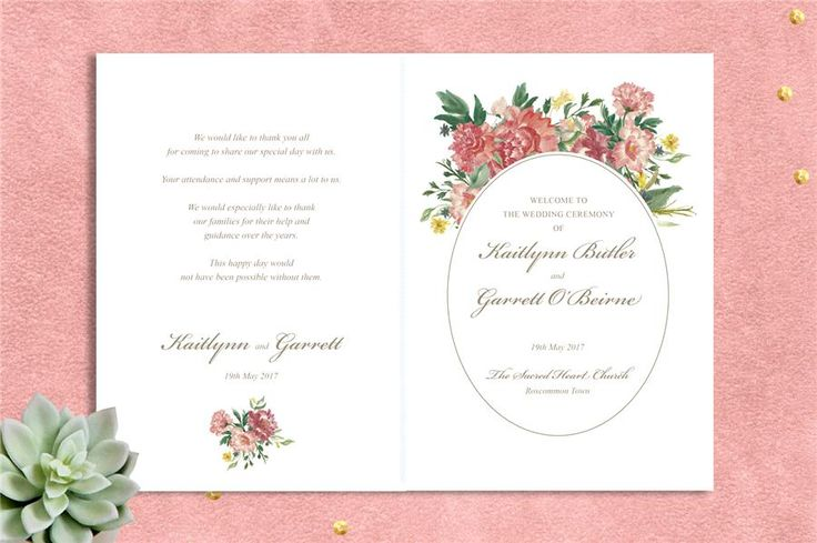 Watercolour Garden Ceremony Booklet Printable Ceremony Cover. Download and customise the text to suit your wedding. Floral wreath design in pink and coral. Get your instant download here: http://www.appleberrypress.com/wedding_stationery_1224_Watercolour-Garden-Ceremony-Booklet-Printable-Ceremony-Cover
