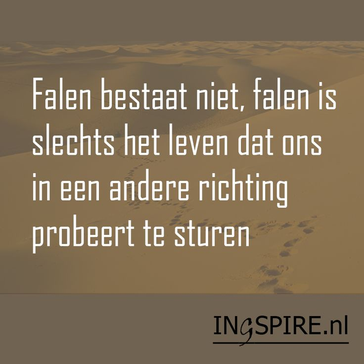 Quote - Falen bestaat niet, falen is slechts het leven dat ons in een andere richting probeert te sturen - Ingspire