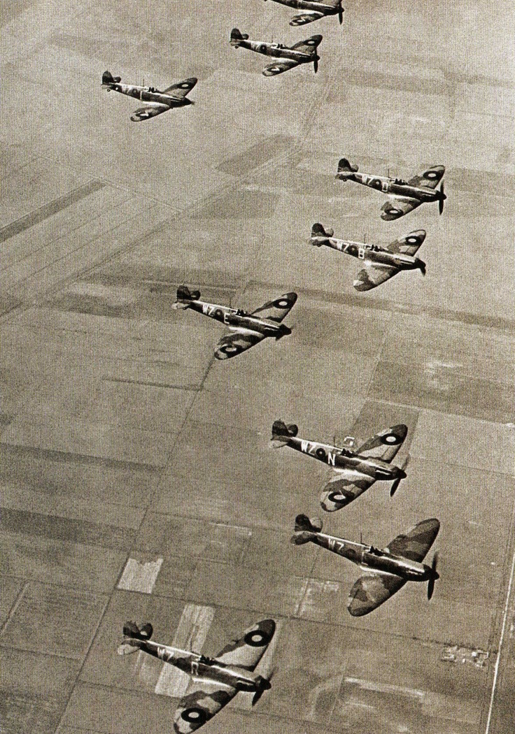 No 19 Fighter Squadron, based at Duxford, Cambridge, England, flying their Spitfire aircraft in formation in the year of outbreak of the Second World War. No 19 was the first RAF Squadron to be equipped with the new Supermarine Spitfire, the only fighter to be used throughout the entire war - 1 May 1939