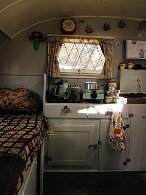 vintage caravan interior + crochet granny square blanket