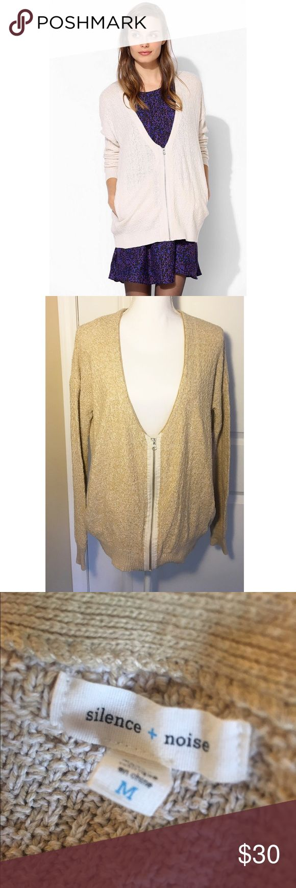 UO Silence + Noise beige zip-up cardigan sweater Sold out online. Picture is for fit. Mine is beige as shown in second picture. Size medium. From Urban Outfitters Urban Outfitters Sweaters Cardigans