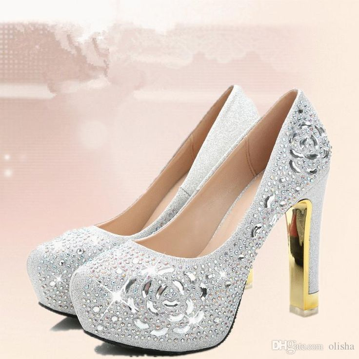 SilverChampagne Sequin Crystals Wedding Shoes Pumps 12cm High Heel Bridal  Bridesmaid Faux Leather Bow