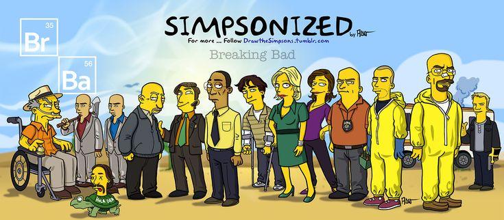 """Breaking Bad"" series / Simpsonized | Illustrator: ADN"