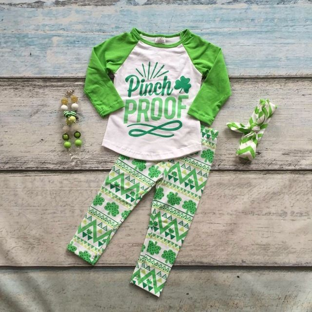 Special offer new baby St.Martin's day theme pinch proof outfit girls Spring suit green shirt cotton aztec pants with matching accessories just only $12.99 with free shipping worldwide  #girlsclothing Plese click on picture to see our special price for you