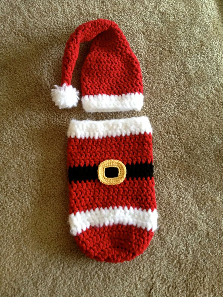 PDF Santa Cocoon and Hat PATTERN - Christmas Crochet Pattern - Christmas - permission to sell finished items - Newborn Photography prop. $4.50, via Etsy.