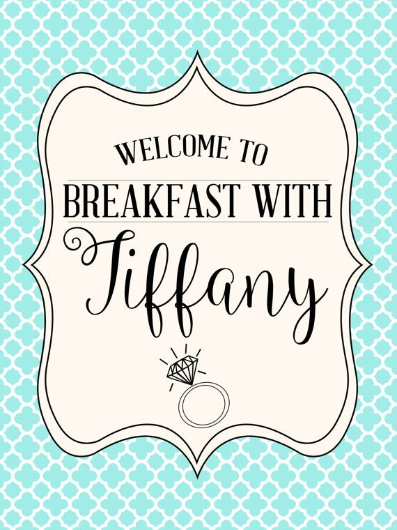 Bridal Shower Must:  Breakfast with 'Tiffany' Sign by WifeyCo
