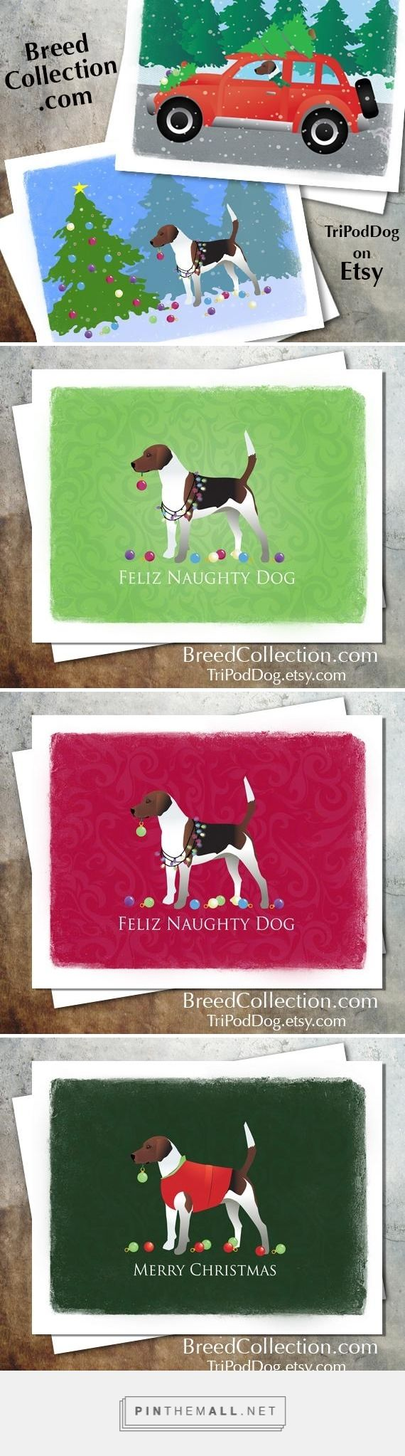 Harrier or Beagle hound Dog Christmas Cards from the Breed Collection - Digital Download Printable on Etsy