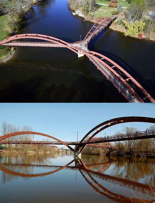 The Tridge – Michigan's Three Way Bridge...Spans the Tittabawassee and the Chippewa Rivers.  Midland, Michigan