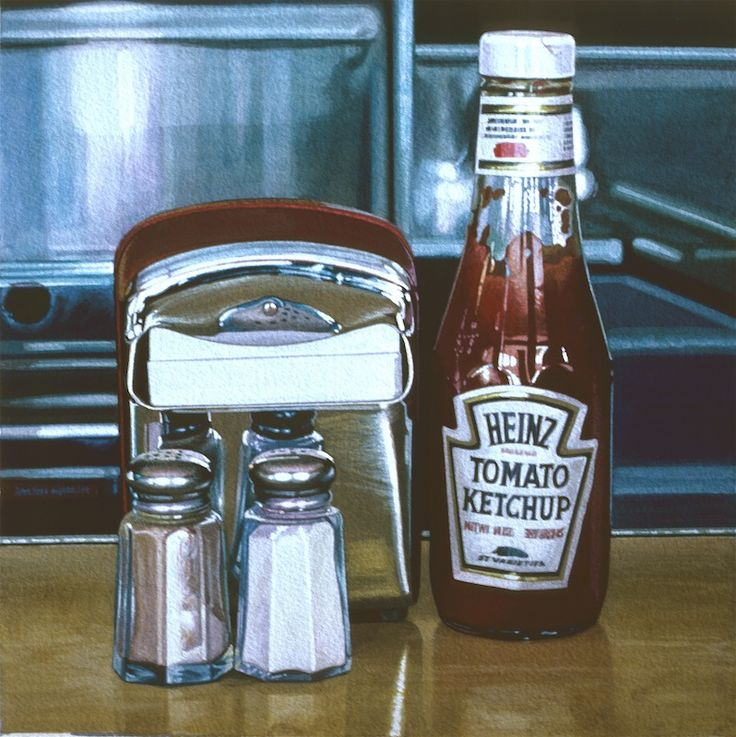 "Ralph Goings (American, born 1928) ""Red Napkin Holder"", 1981 ~ watercolors"
