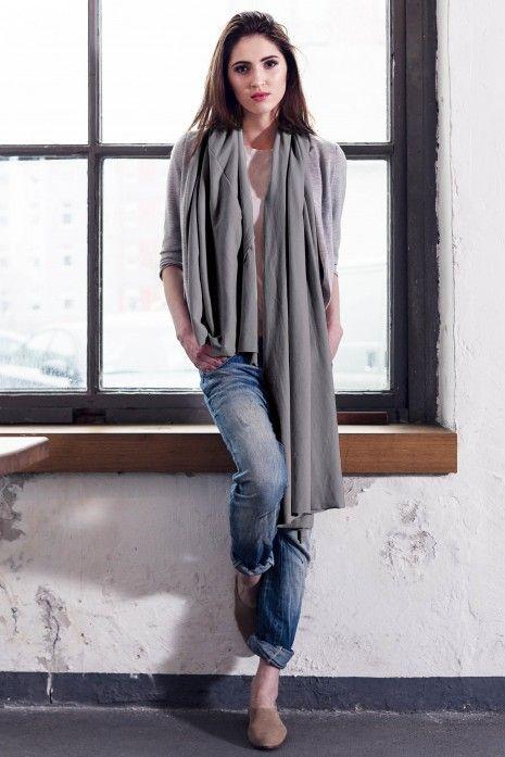 Duży szalik apaszka z bawełny organicznej Grafitowa