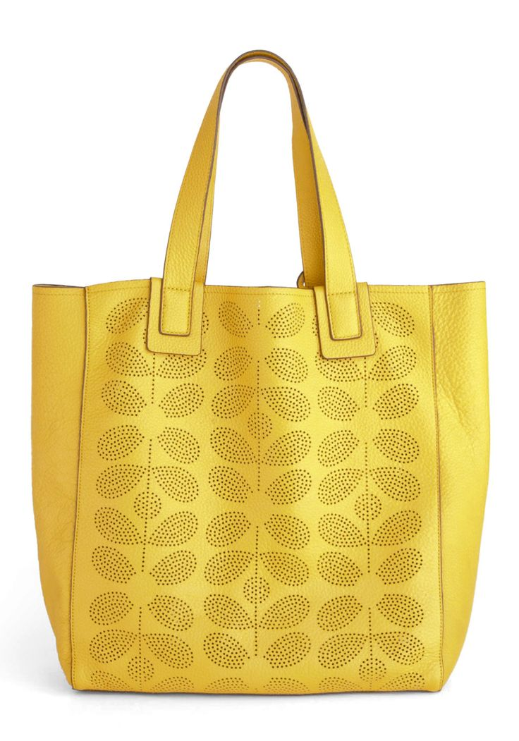 Orla Kiely The Dandelion in Winter Bag by Orla Kiely - Yellow, International Designer, Leather, Vintage Inspired, 60s, Pockets, Luxe