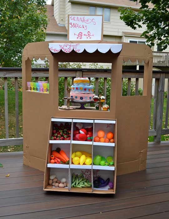 Play store store made from an old cardboard box- tutorial.  My kids would love this!
