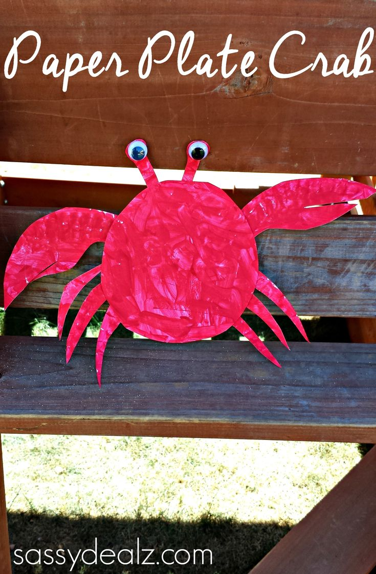 Paper Plate Crab Craft For Kids #DIY #Crab art project #Ocean theme | http://www.sassydealz.com/2014/02/paper-plate-crab-craft-kids.html