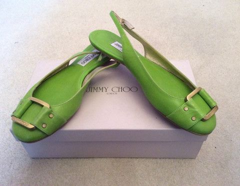 BRAND NEW JIMMY CHOO NEON GREEN MORSE BUCKLE TRIM SLINGBACK FLATS SIZE 7/40 - £175 Whispers Dress Agency - Womens Flats - 1