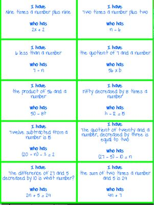 """I Have, Who Has - Translating Words into Math/ Writing Expressions and Equations from KlaRenays Shop on TeachersNotebook.com (4 pages)  - Here is the lovely """"I have, who has"""" game. This is the perfect activity to get students engaged in translating words into math/writing expressions and equations.  My students love it!  There is a class set of thirty cards.  All cards should be u"""