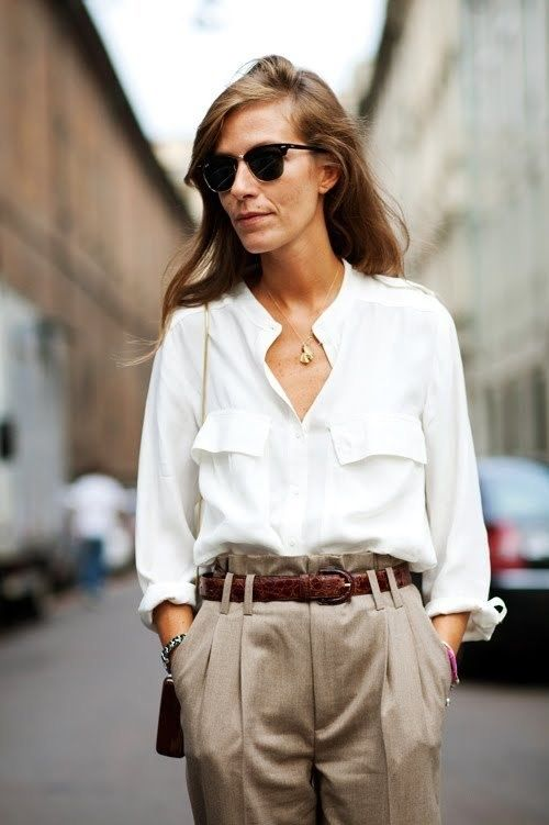 Menswear inspiration...silk cream blouse and high-waisted brown trousers w/a vintage-looking belt...