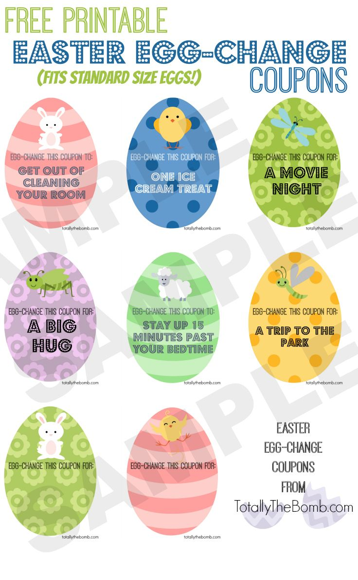 Check out these free Printable Easter Egg-Change Coupons