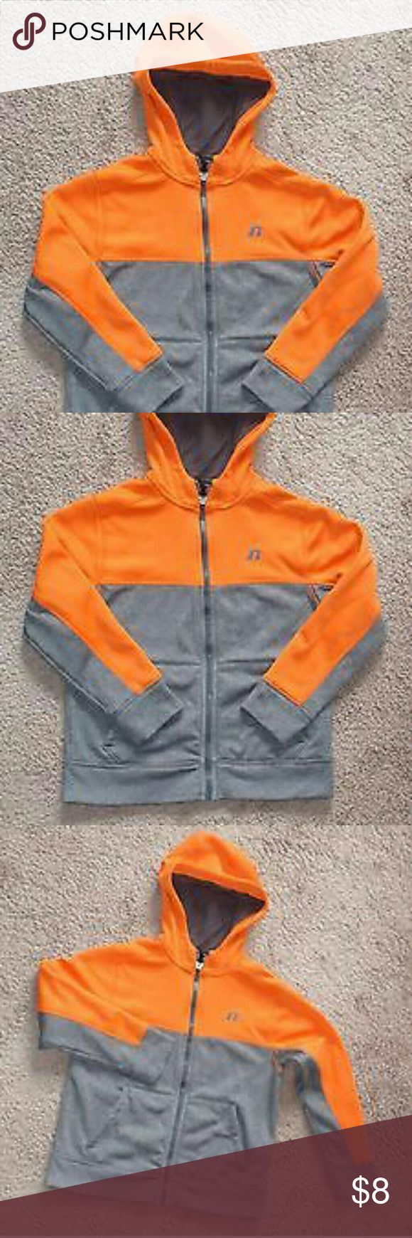 """Boys Russell Athletic Hoody Orange Gray Fleece Zip Used condition From the original owner. Shows minimal wear from normal use.?   Size tag was removed but it was size M, will fit 8 to 10 years old boys.   Read the measurements carefully to make sure it fits your Child.??   All measurements are taken with the jacket laying flat.  From pit to pit is 18"""" inches  From back of neck to bottom?hem?20 1/2"""" inches  Sleeves 18 1/2"""" inches Jackets & Coats"""
