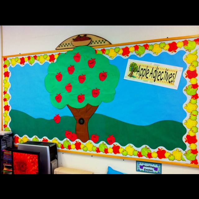 Our apple adjectives bulletin board. Each child writes an adjective to describe apples on a die cut apple. Then we add it to our tree.