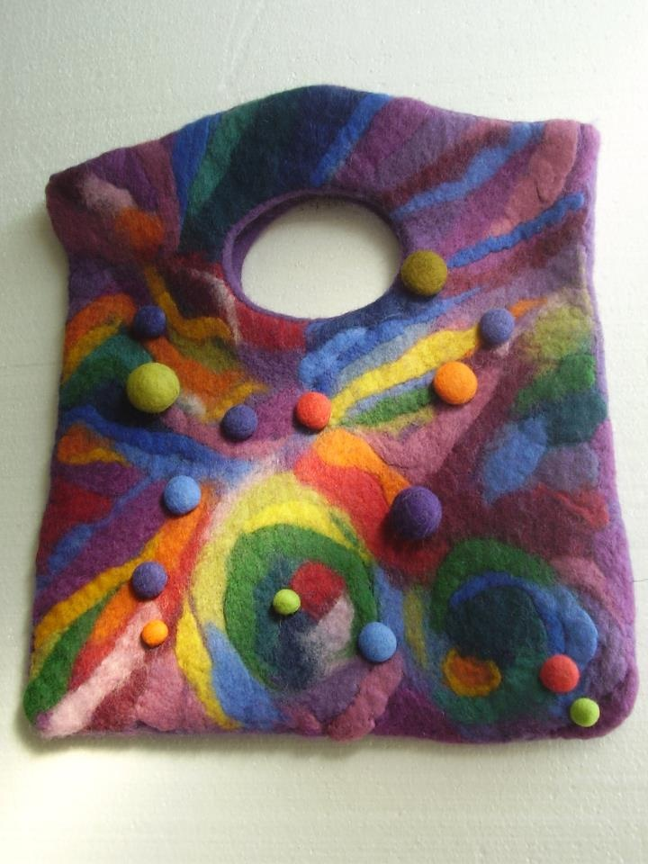 There is no pattern for this bag. The wool has been washed at high temperature, making it tighten and shrink. Funky and crazy, a fun piece.