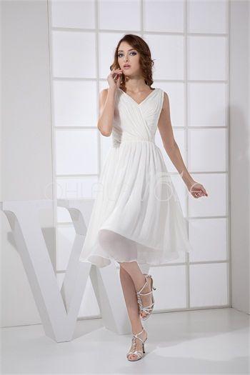 Robe de mariée mini simple pas cher V col en mousseline de soie blanche