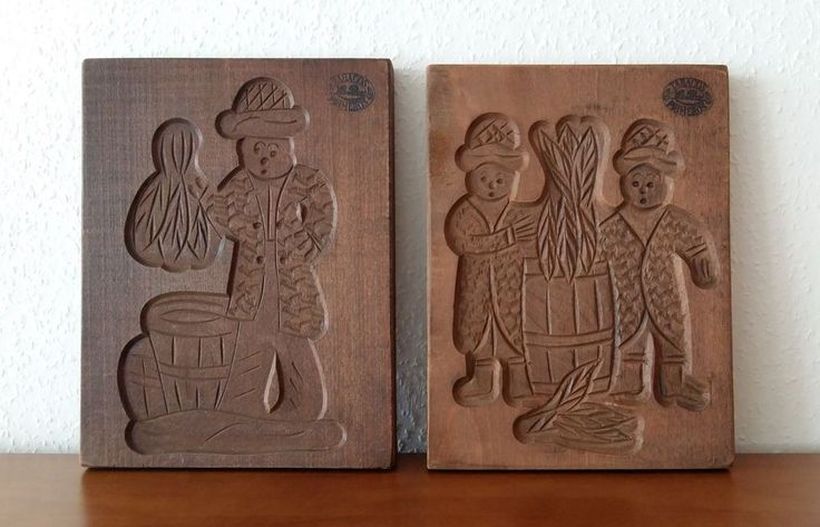 VTG SET 2 DUTCH HAND CARVED WOOD SPECULAAS COOKIE MOLD OF A MAN & TWO MEN LA PAZ