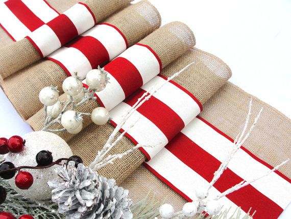 French Stripes Christmas Table Runner  Winter by HotCocoaDesign