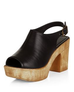 Sandales noires à plateformes avec brides de cheville et bouts découverts | New Look