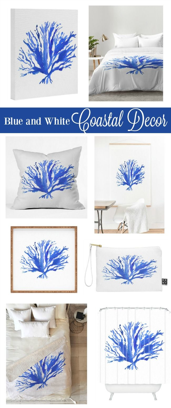 Introducing the Sea Coral collection in a timeless classic blue and white design. Shop pillows, cozy throws, wall art, bedding, shower curtains & more at lauratrevey.com, and click thru to enjoy 10% off your entire order.