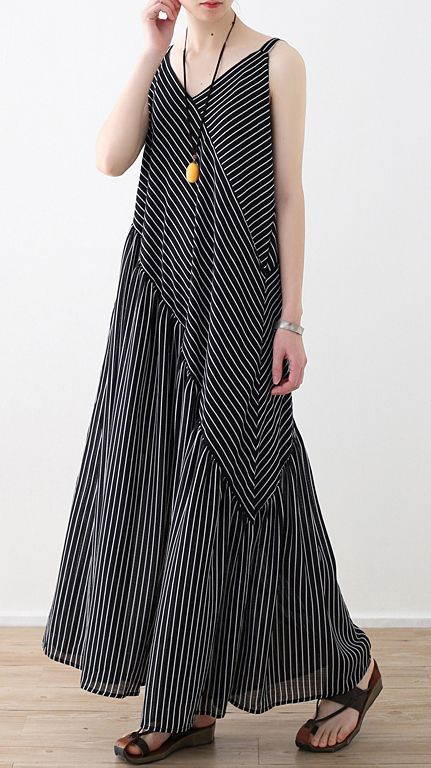 Women black striped chiffon clothes Boho Outfits Spaghetti Strap asymmetric Robe Summer Dresses