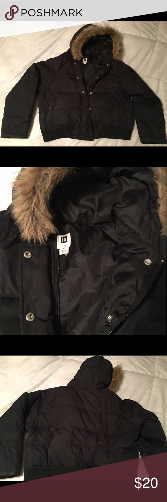 GAP puffer coat with fir trim Nice and warm puffy Gap jacket. Front zipper and button closure, faux fir trim along hood. Great used condition. GAP Jackets & Coats Puffers