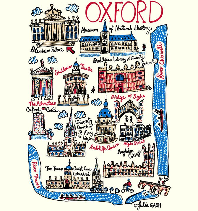 Julia's Oxford Cityscape is a celebration of British ecclesiastical and university, heritage architecture. Some of the many, ancient seats of learning of Oxford University, such as Magdalen College, Sheldonian Theatre, Radcliffe Camera, Christ Church Cathedral and Bodleian Library and Divinity School feature in this cute take on cartography. Julia has captured their salient architectural features such as domed ceilings, spiky, pointy turrets and repetitive, arched columns.