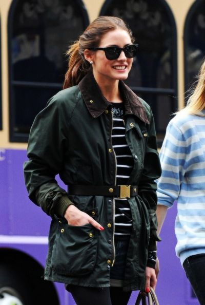 Style Crush: Olivia Palermo, belted barbour & stripes