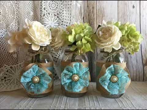 Burlap rustic wedding mason jars favor bags bridal shower baby shower