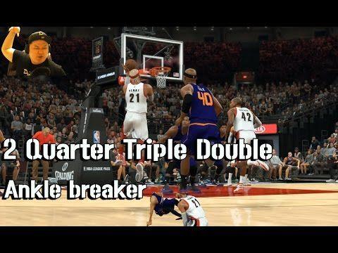 앵클브레이크 & 2쿼터 트리플더블(얼공주의) NBA2K17 Mycareer Ankle breaker & 2 Quarter Trip...