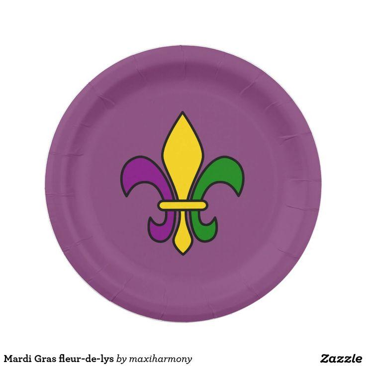 Mardi Gras fleur-de-lys 7 Inch Paper Plate