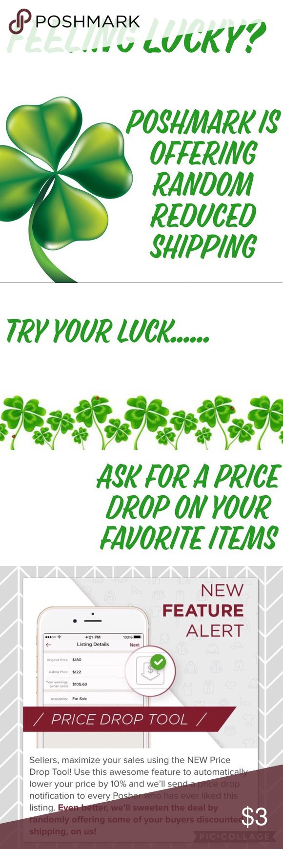 Feeling Lucky? You may get reduced shipping! Ask for a price reduction! I will lower by 10% and you may get reduced shipping!   During this promotion Poshmark will randomly reduce the shipping cost on items reduced by 10% and purchased within an hour of the reduction. Not valid on offers, bundles or items under $10.   Sellers are not in control of shipping cost. Take advantage of this opportunity to get your favorite items. Other