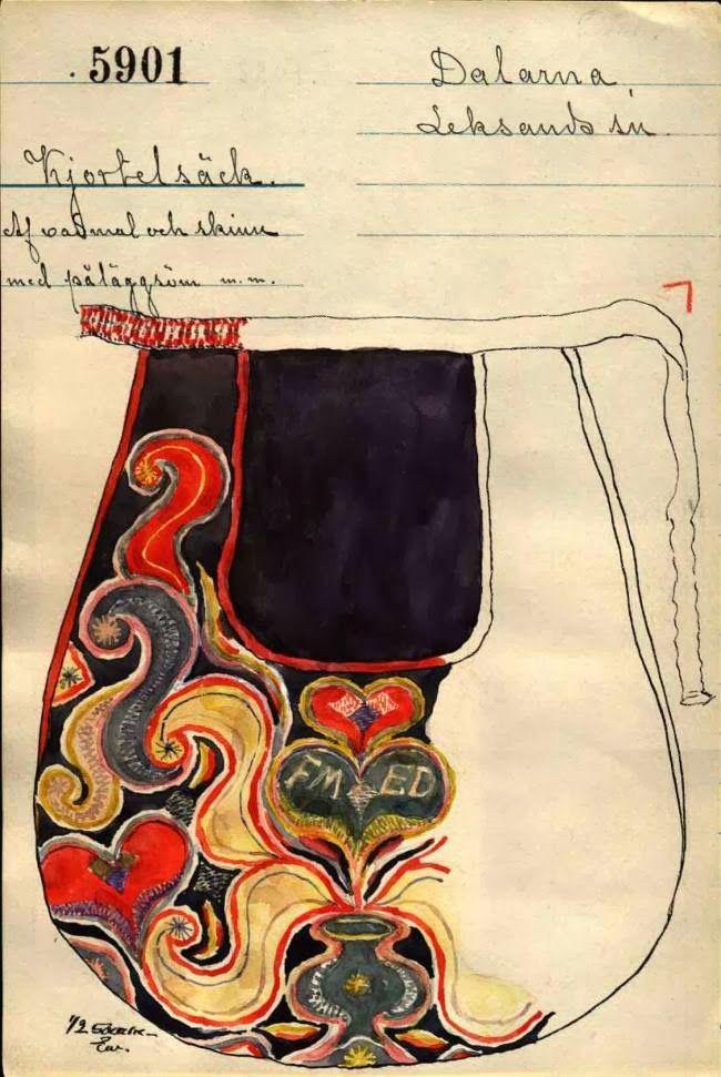 croquis textile : pochette brodée suédoise, folklorique