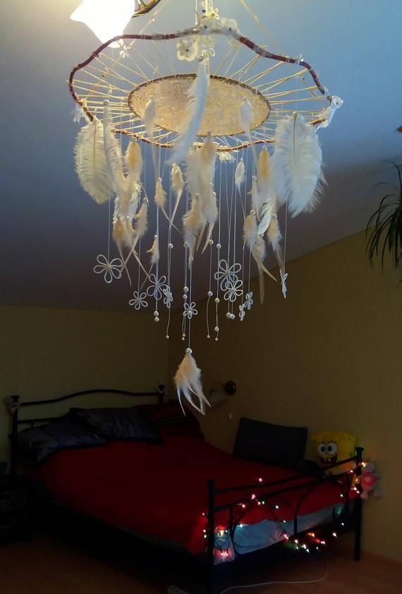 Ivory Wedding Large Dreamcatcher Mobile Bridal Dream Catcher RoseGold Mobile Bohemian Dream Catcher Feather Mobile Crib Dream Catcher Mobile
