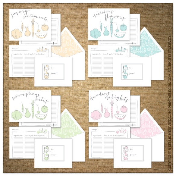 Recipe Cards {Food Affair}  $10.00 (Set of 8 printed cards)     Do you have a love affair with food? Does everyone crave one of your dishes? Why not gift them one or two of your scrumptious bites with these note cards that doubles as a recipe card!