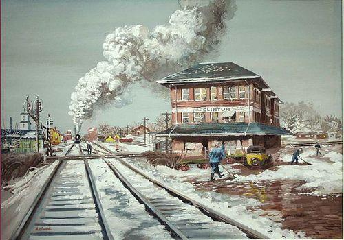 "Aaron Bohrod (1907-1992) ""Rail Crossroad at Clinton, Illinois"", 1940"
