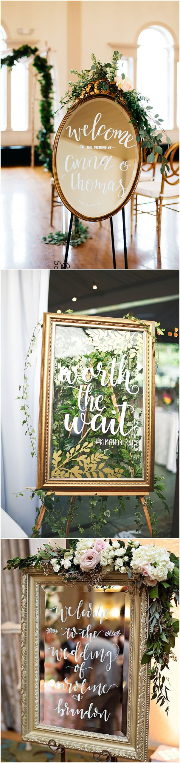 vintage wedding ideas with mirror wedding welcome sign ideas