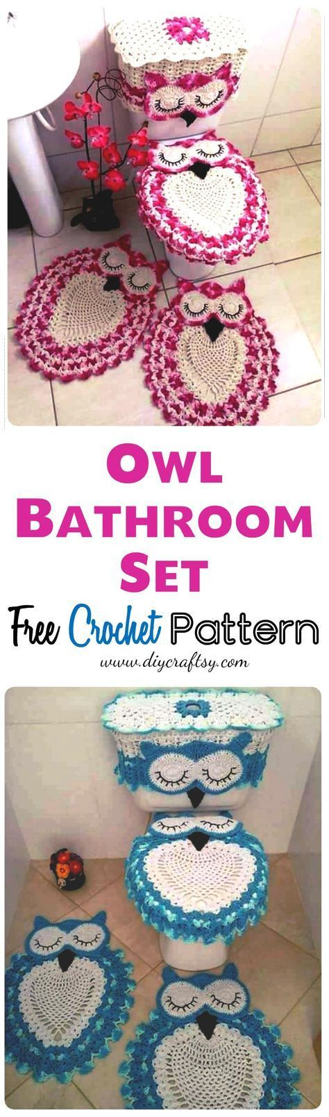 the whole assets of this entire crochet owl bathroom set and you will just love to crochet them with the help of provided free crochet pattern! You can